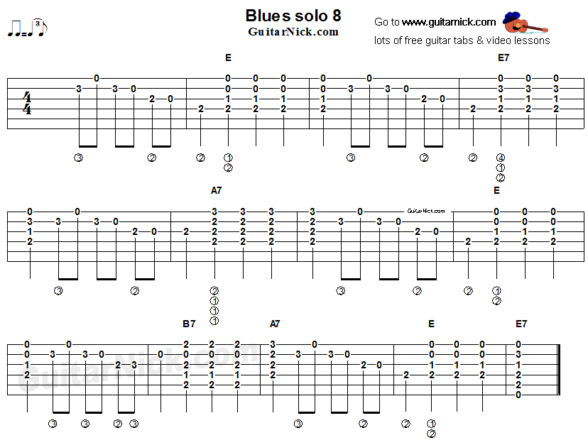 Acoustic flatpicking blues - guitar solo tab 8 | Música in