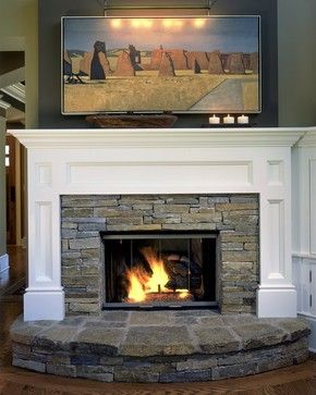 Traditional Home Fireplace With Raised Hearth Design Pictures