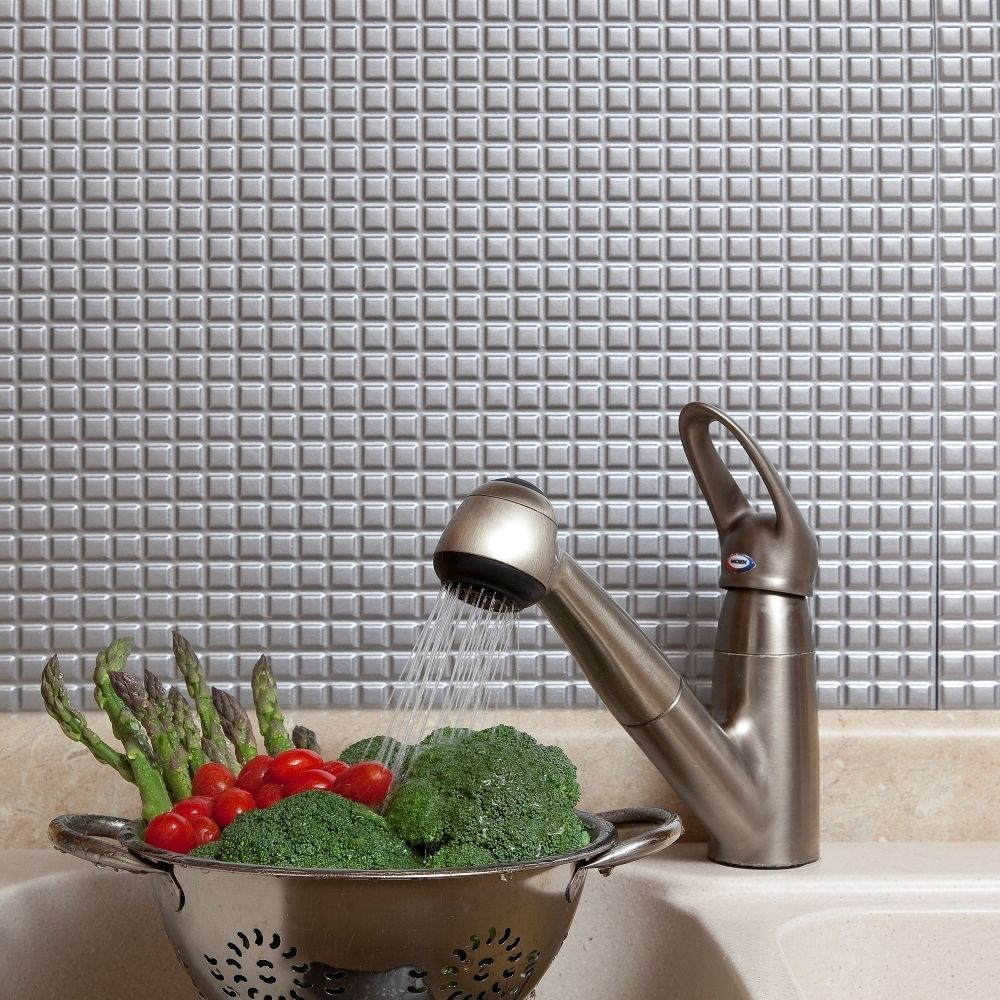 Fasade Square Argent Silver 18-square Foot Backsplash Kit (Sample Square Argent Silver 6 in. x 6 in.)
