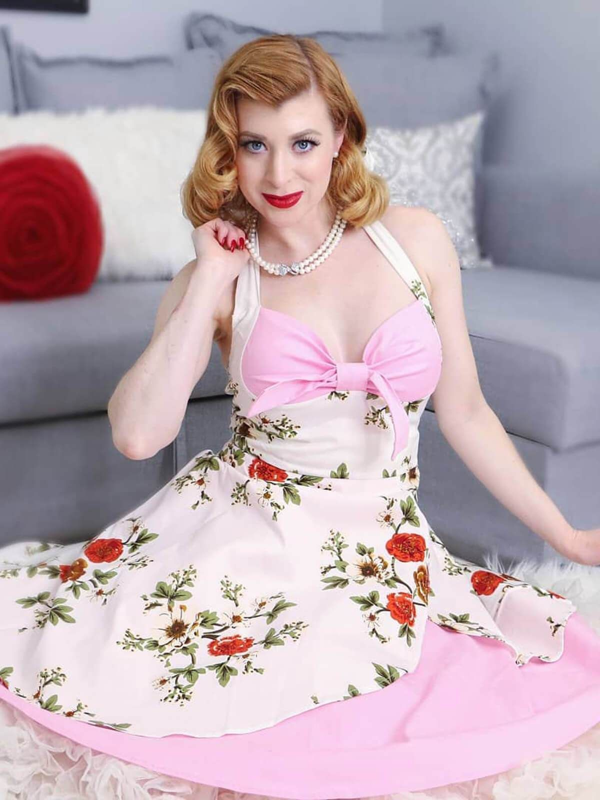 c2374355697871 Pink 1950s Halter Floral Swing Dress – Retro Stage - Chic Vintage Dresses  and Accessories
