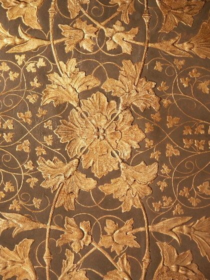 English 19th Century Gilt Leather Wall Hanging Leather Wall
