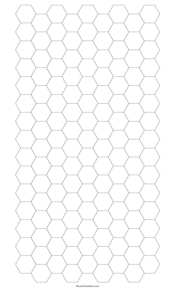 Printable Half Inch Gray Hexagon Graph Paper for Legal