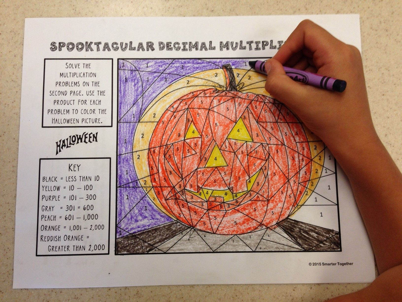 Halloween Color By Number Multiplying Decimals