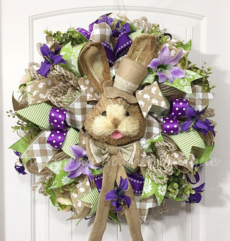 Easter Wreath Mesh Easter Wreath Easter Rabbit Wreath