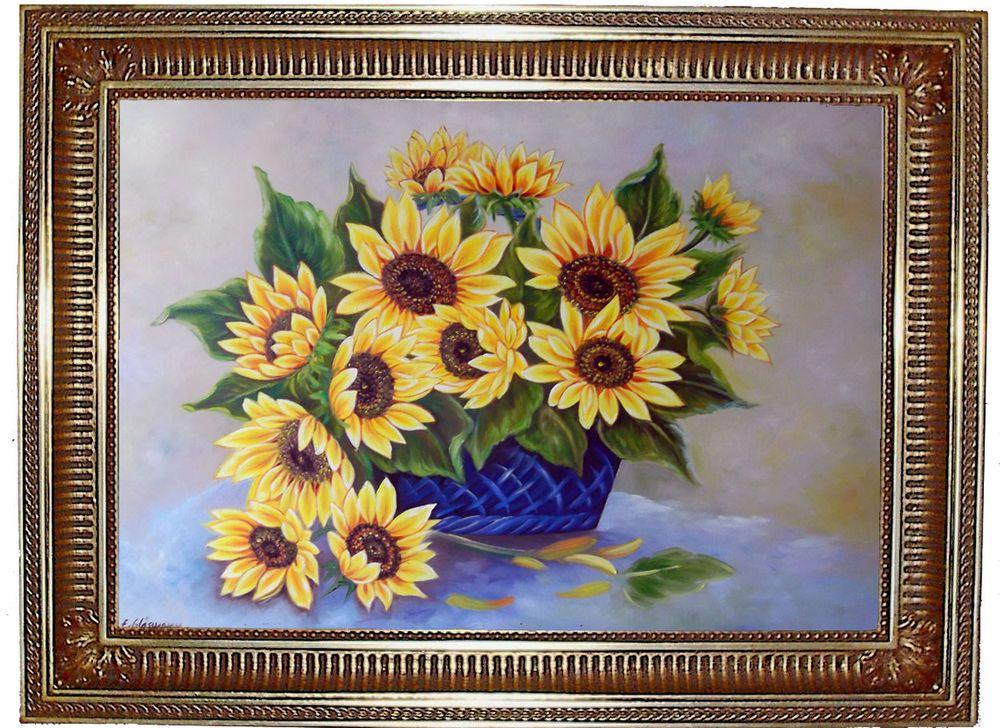 Sonnenblumen Original Öl Malerei Gemälde Kunstmalerei handgemalt ...