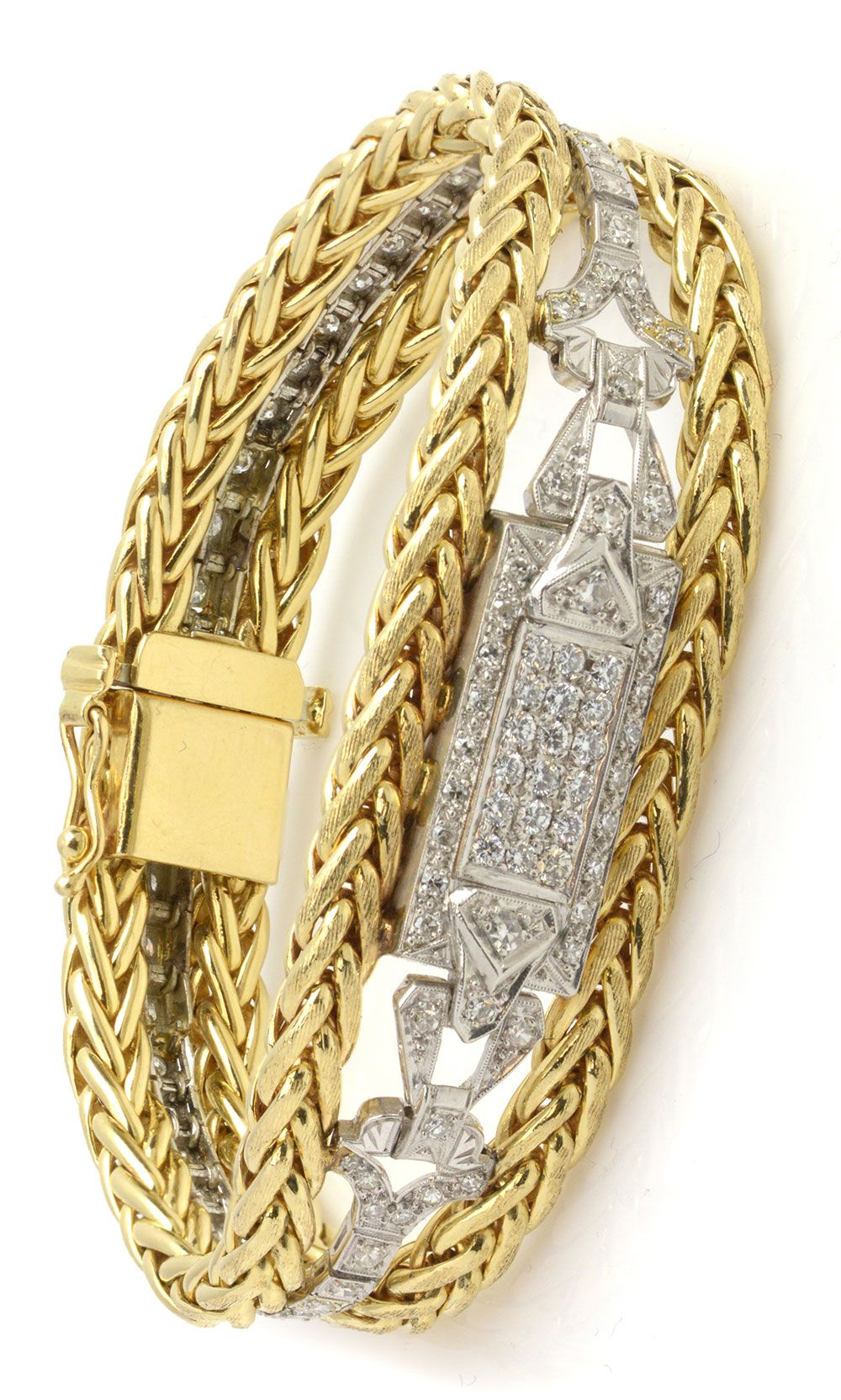 Unique diamond and yellow gold chain bracelet with clasp item