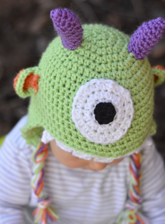 Crocheted Little Monster Baby Hat Pattern