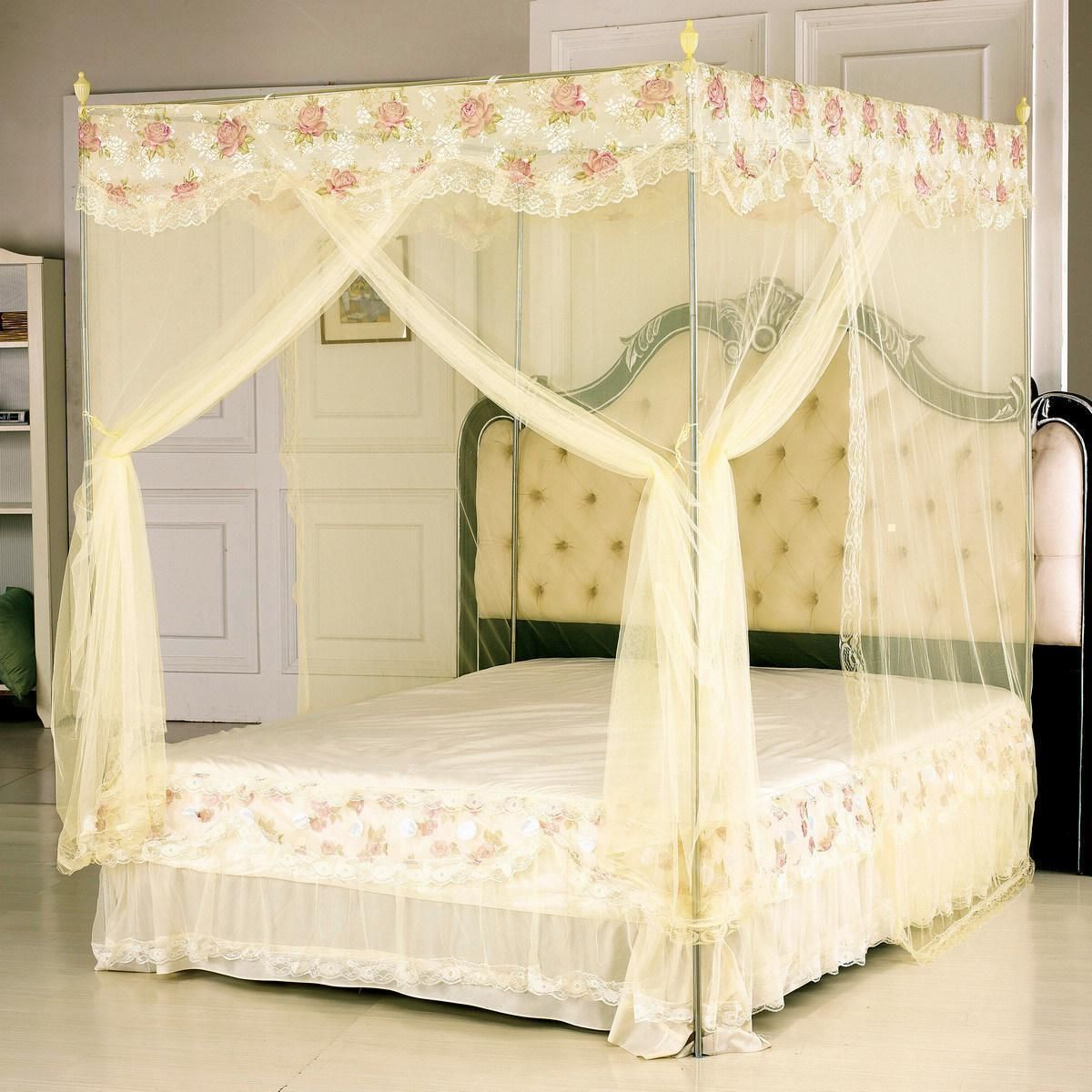 Modern Style Small Canopy Bed Design with White Wall Paint Color and ...