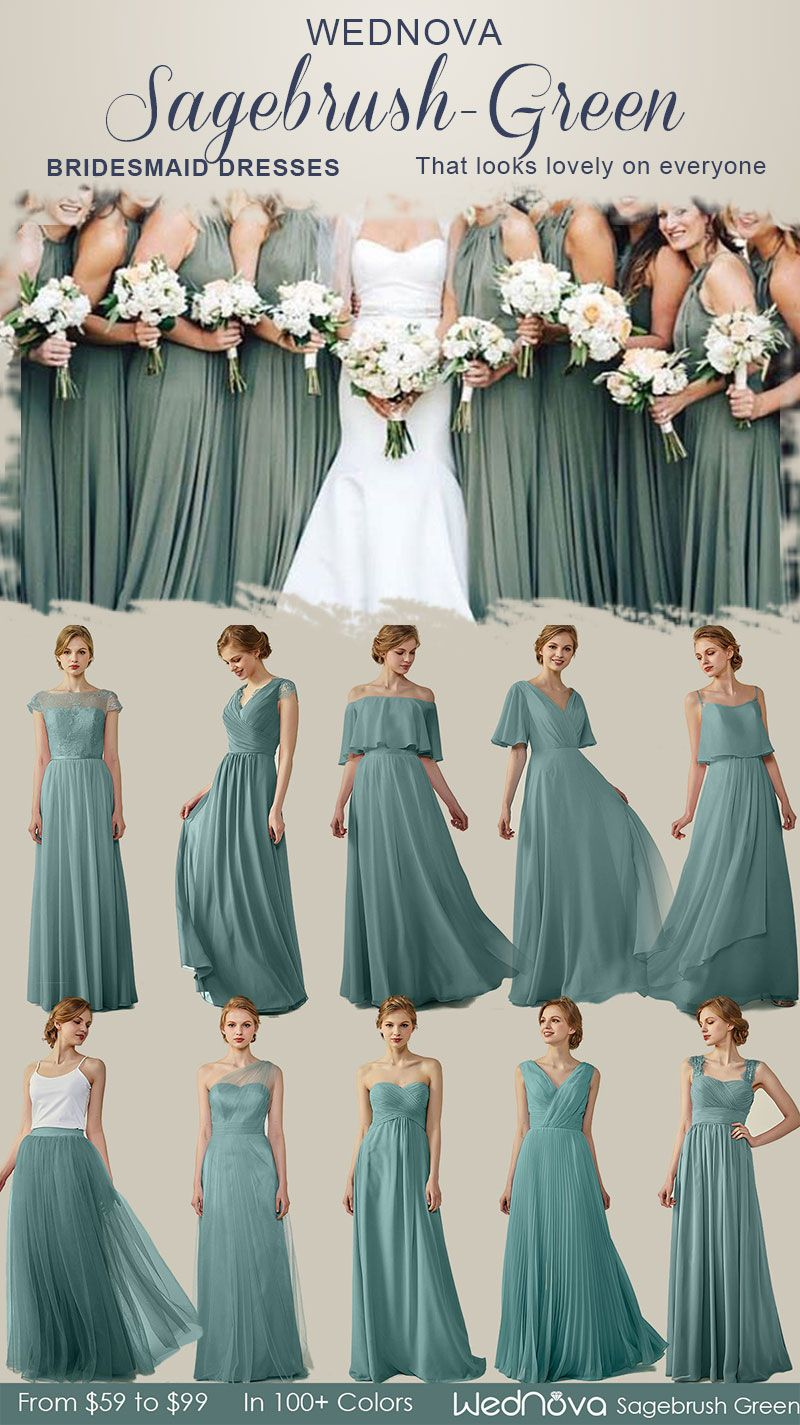 2018 Popular 10 Chiffon Bridesmaid Dresses Sagebrush Green Long Skirt Sweeth Sage Green Bridesmaid Dress Green Bridesmaid Dresses Long Green Bridesmaid Dresses