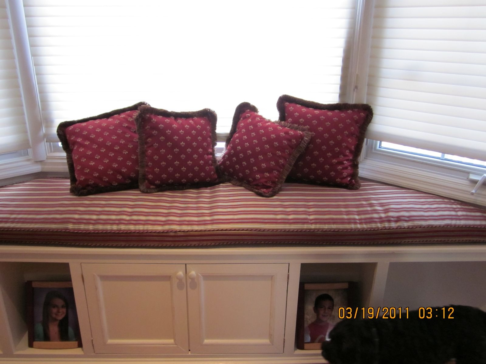 Custom Made Bay Window Bench With Matching Pillows