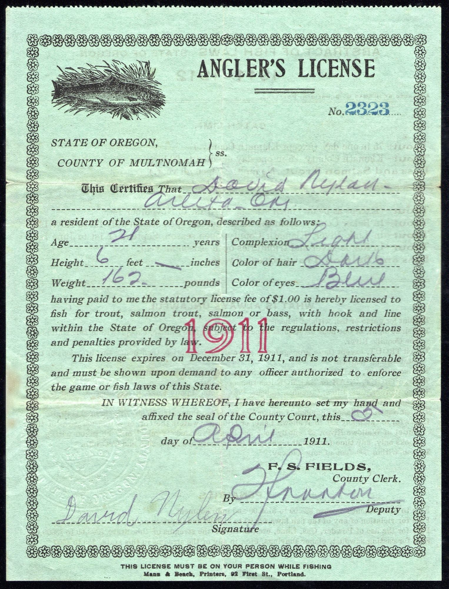 Pin On 1905 1919 Oregon Hunting Fishing Licenses