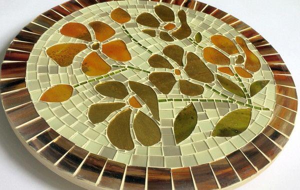 Centro De Mesa Giratorio 45 Cm Mosaico Vidro Mesa Giratoria