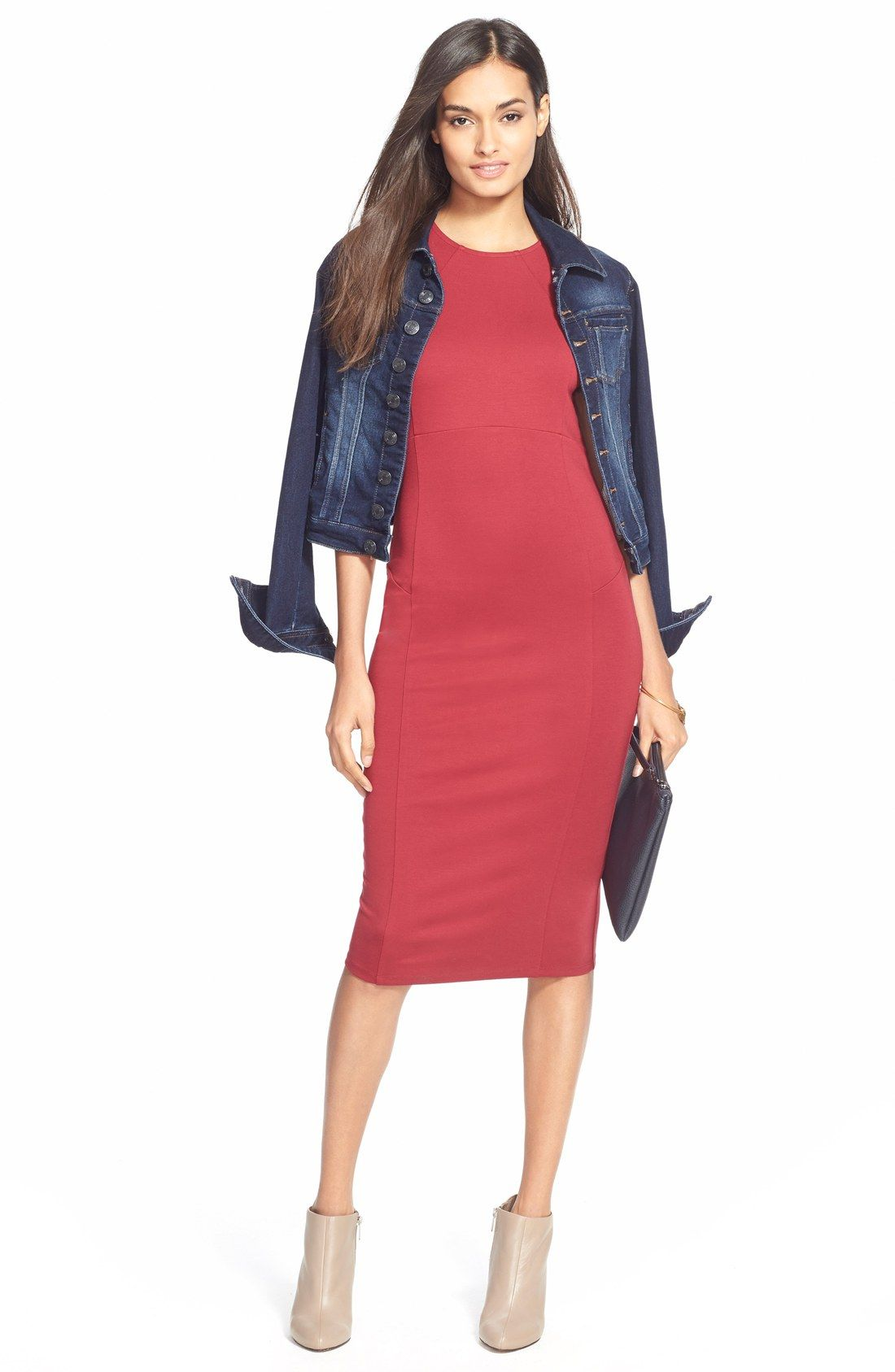 Jag Jeans 'Savannah' Knit Denim Jacket over red dress and high ...