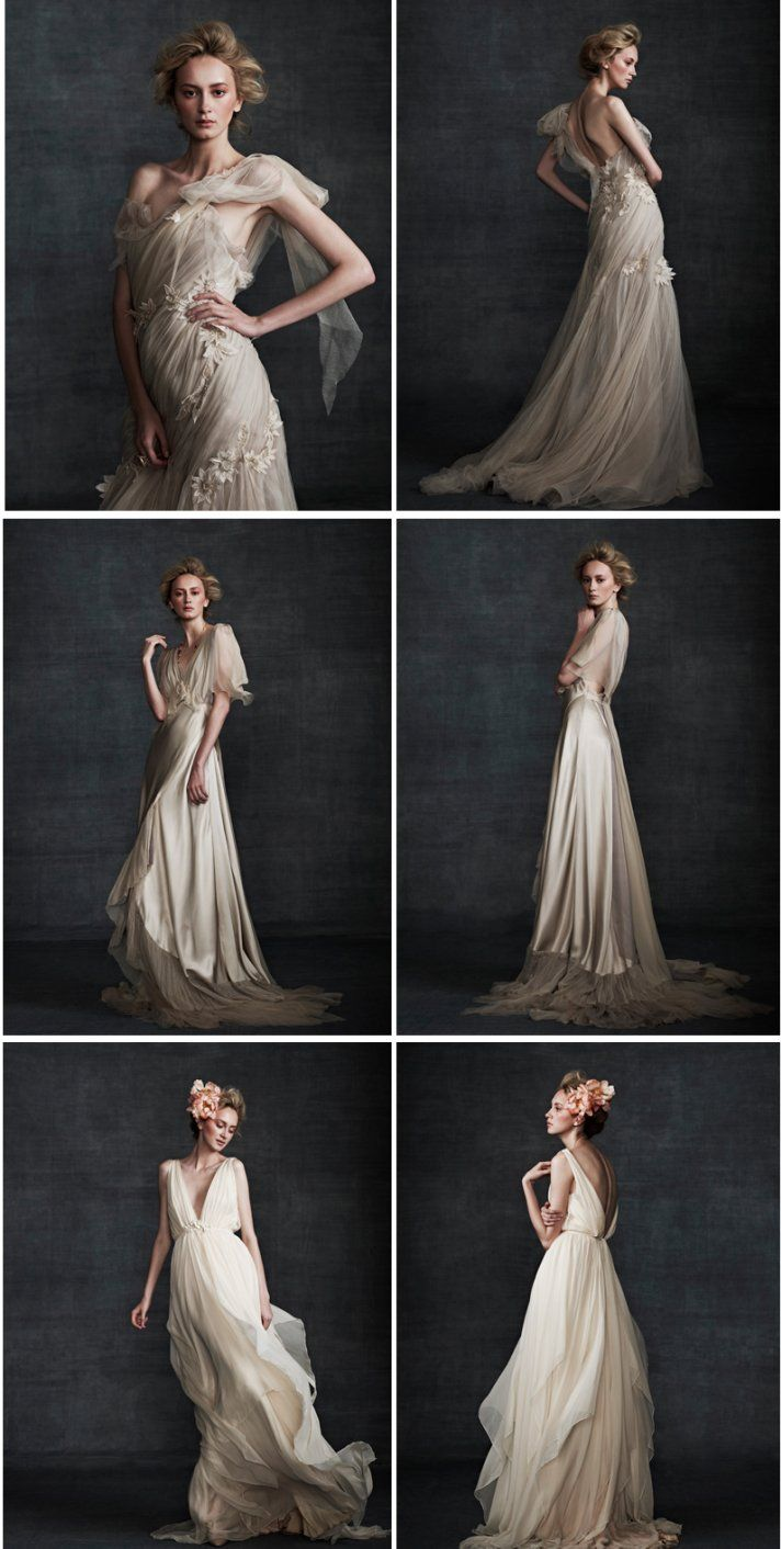 Vintage lace champagne wedding dress  You will not find white in this Samuelle Couture bridal collection
