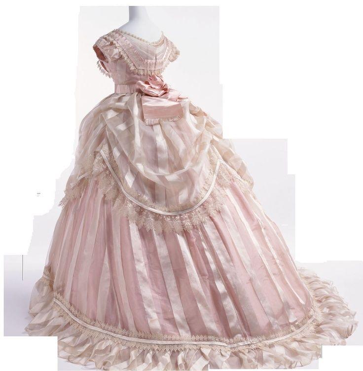 Victorian Era Ball Gowns 1866 Sheer Pink Striped Silk Dress Kyoto
