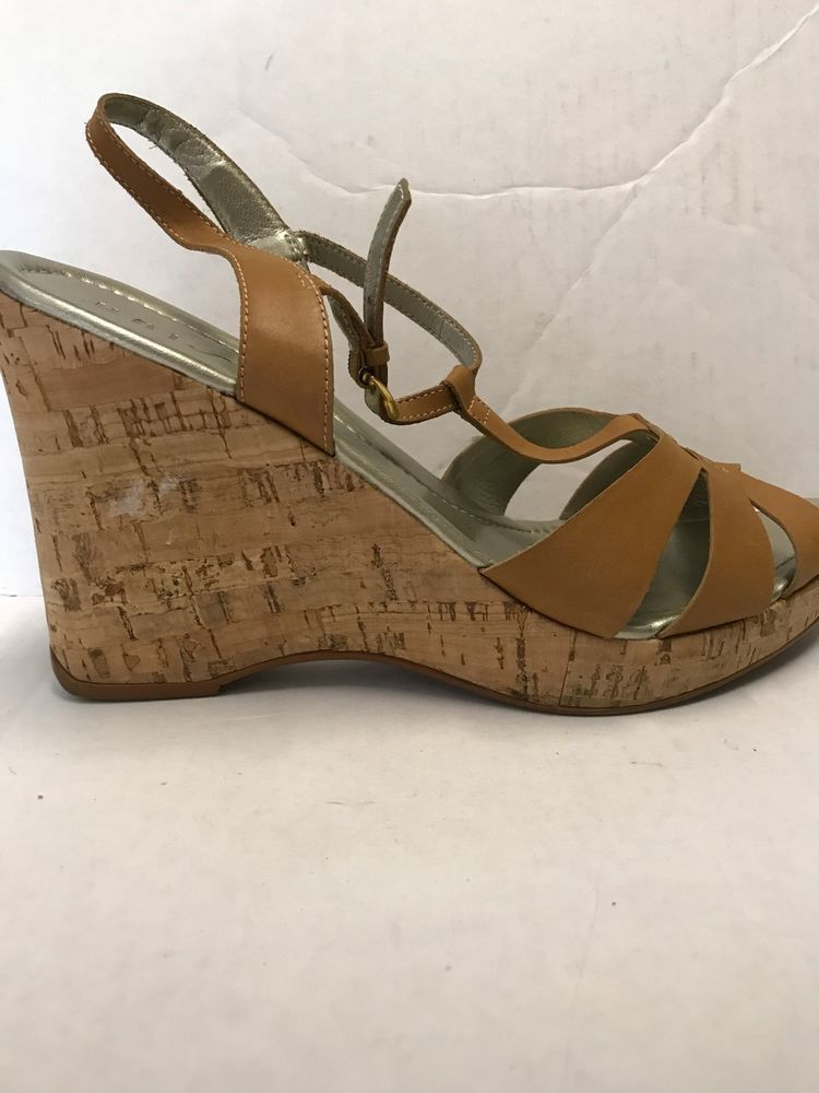 82dd8930a4e Unisa - Tenille Saddle Brown Leather Cork Wedge Sandal Shoe Size 10  Unisa   Sandals  Casual