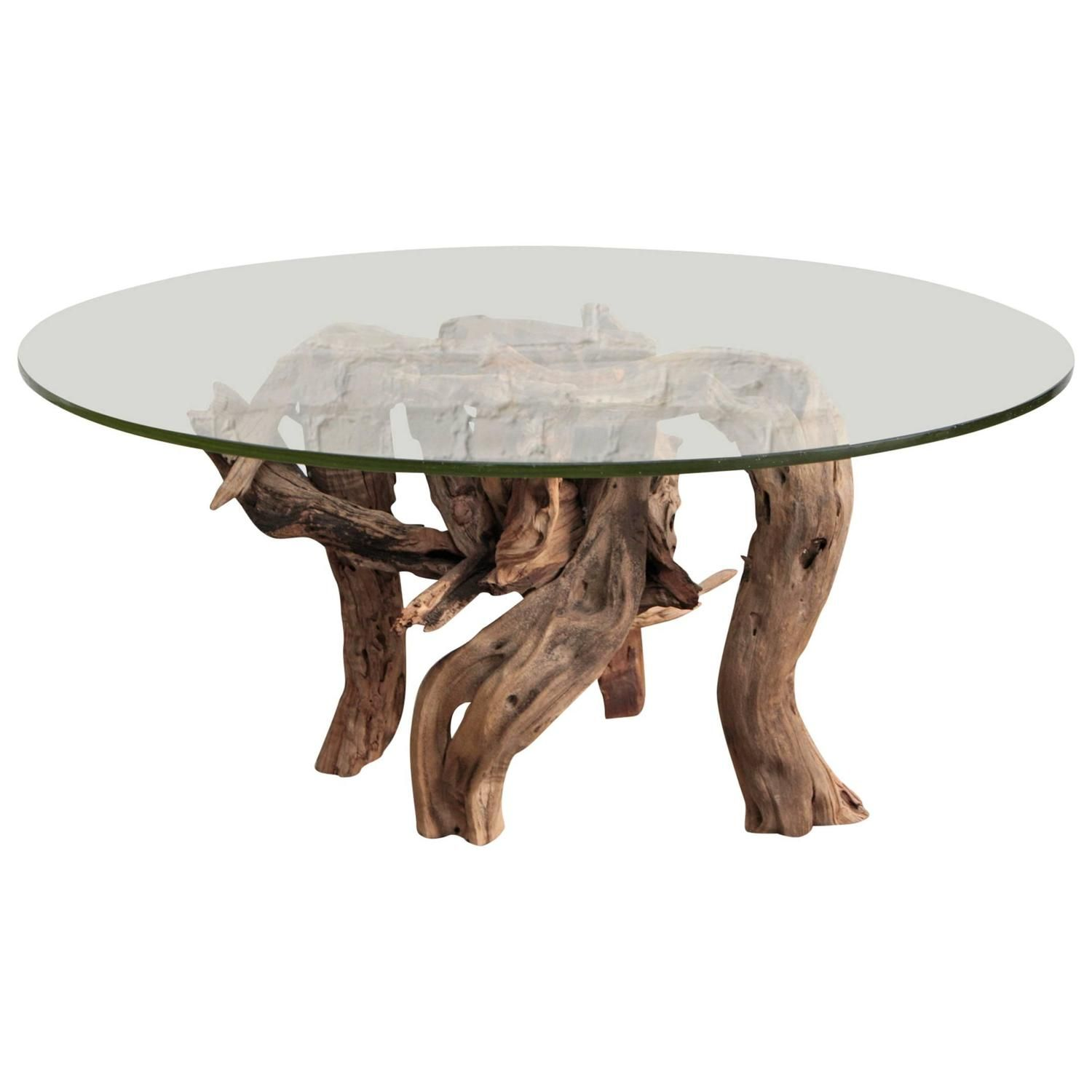 Round glass table top view driftwood coffee table round glass top  driftwood coffee table