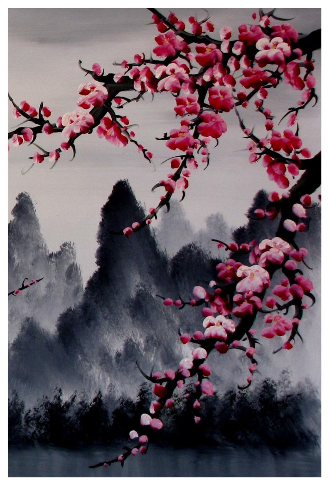 Photo of Arte de flor de cerezo, mural de flor de cerezo, conjunto de impresión japonesa de arte de flor de cerezo de 3