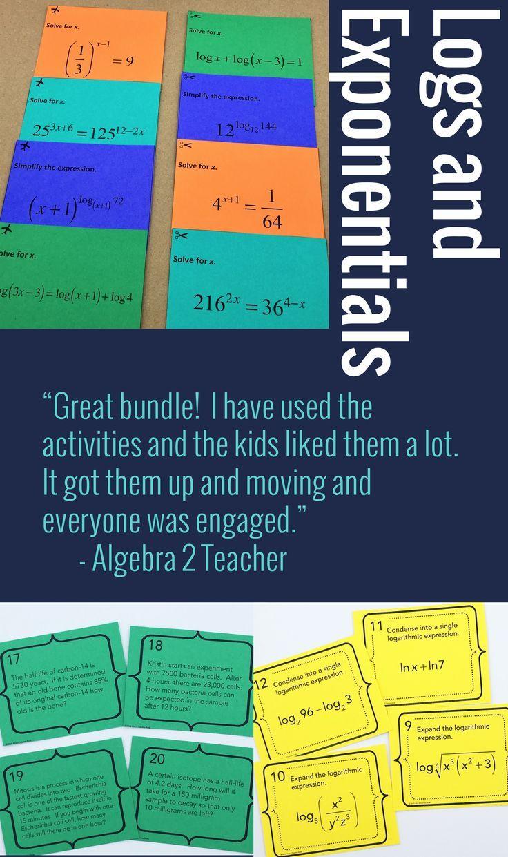 Logarithm and Exponentials Activities Bundle Algebra