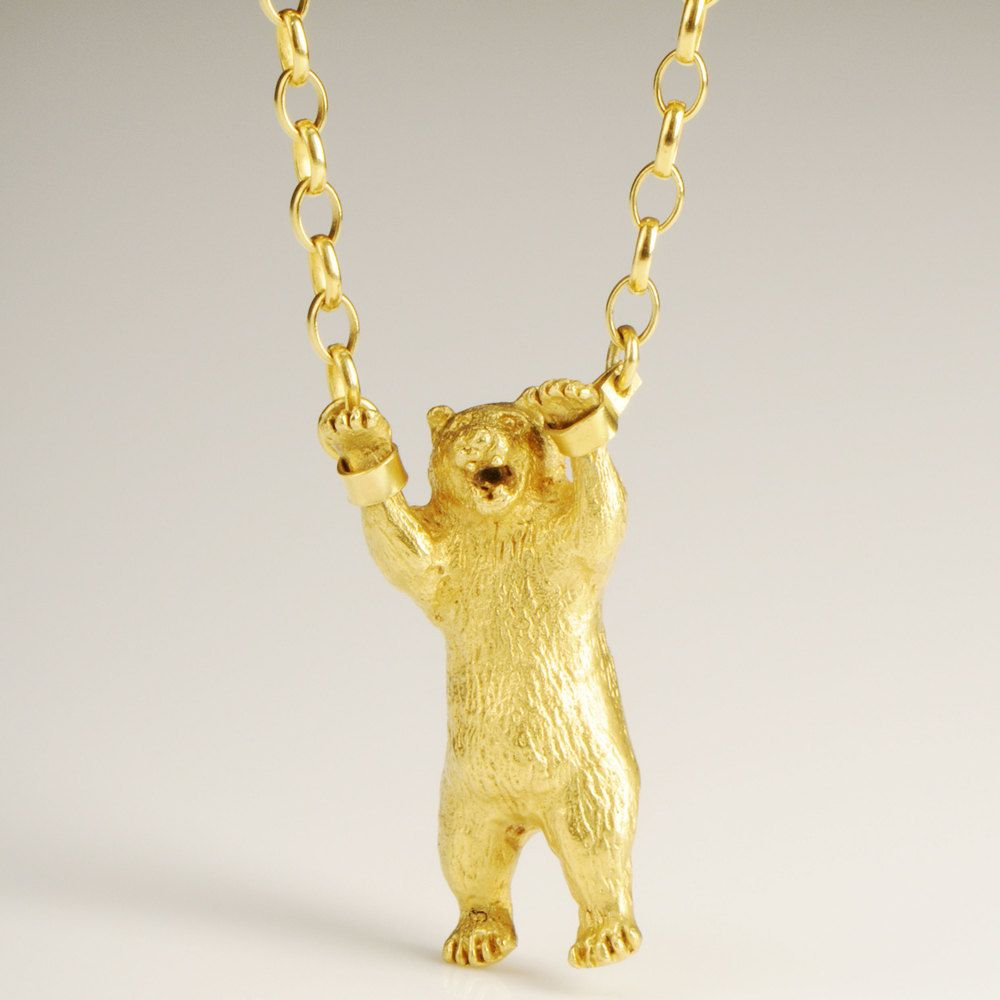 Hand Cuffed Bear Necklace