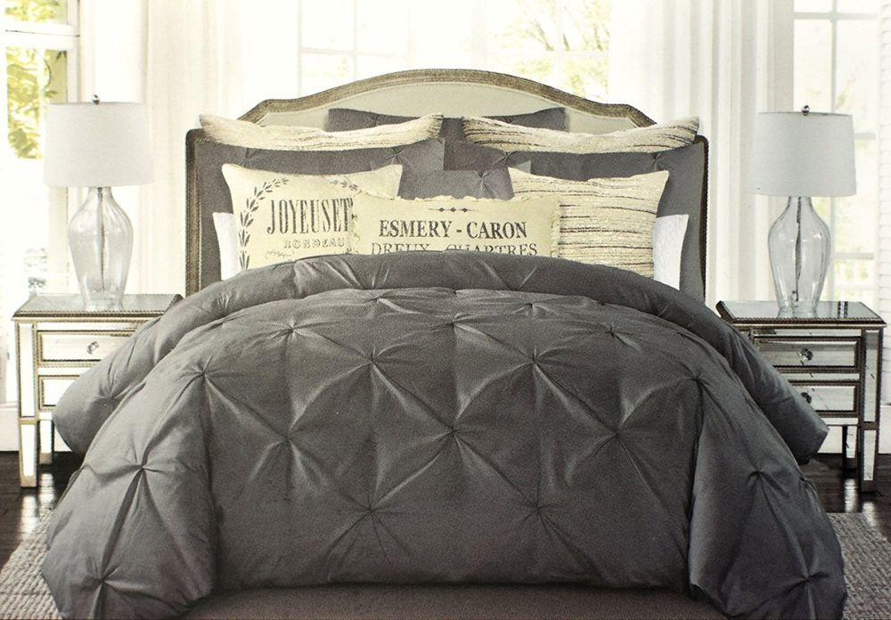 tahari pintuck ruched diamond dark grey 100 cotton duvet cover set king shabby taharihome. Black Bedroom Furniture Sets. Home Design Ideas