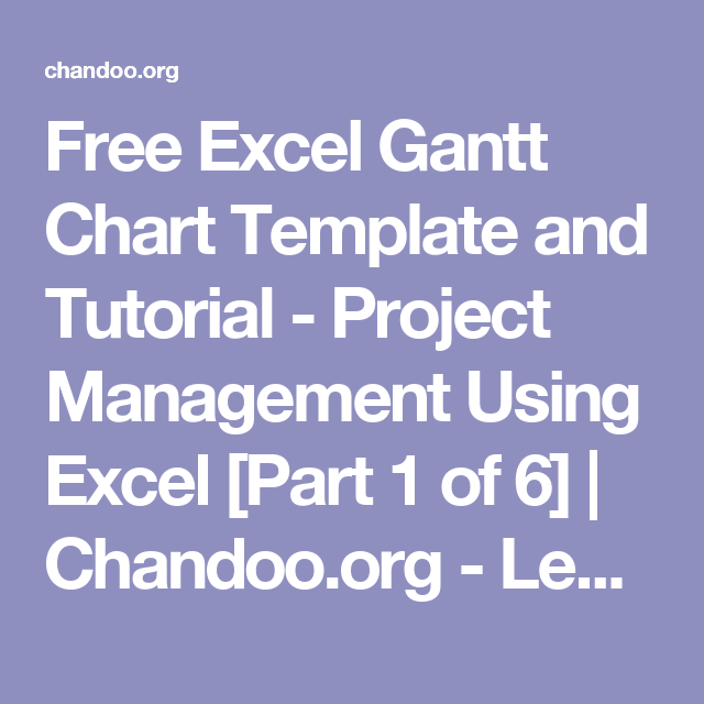 Free Excel Gantt Chart Template And Tutorial Project Management