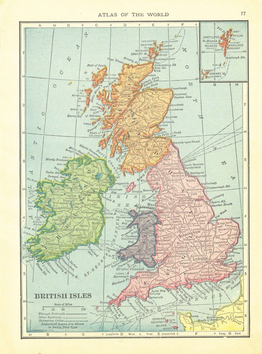1911 Handy Atlas Vintage Map Pages – British Isles on one side and Germany – West on the other side #britishisles