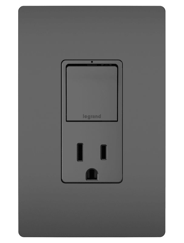 Legrand Rcd38trbk Black Radiant 15 Ampere Tamper Resistant Lighted Electrical Outlet With On Off Switch In 2020 Modern Light Switches Electrical Outlets Switch