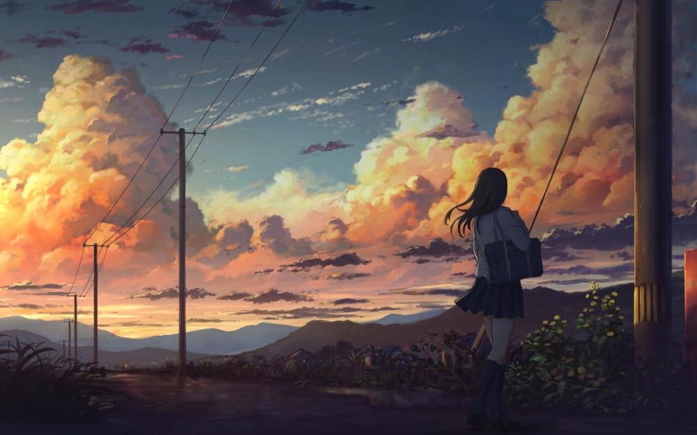 Anime Scenery Wallpaper Anime Landscape With Girl Hd Wallpaper Download Ilustrasi Digital Ilustrasi Alam Pemandangan Anime
