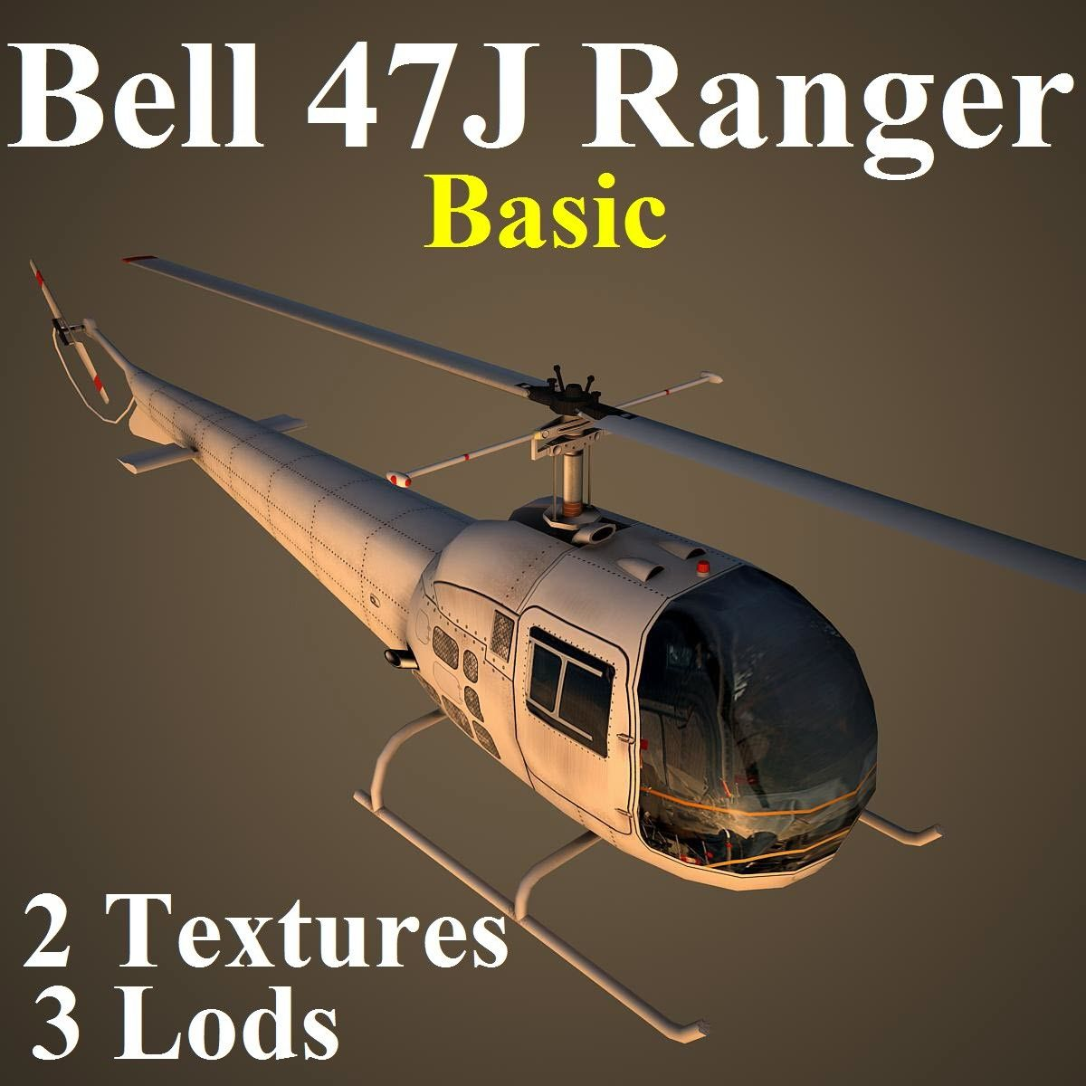 3d Ma Bell 47j Basic Helicopter 3d Model Helicopter Helicopter 3d Aviation