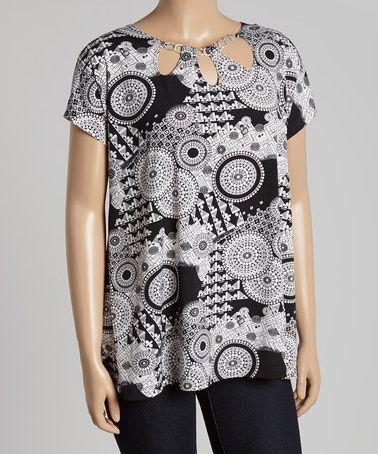 Another great find on #zulily! Black & White Medallion Short-Sleeve Top - Plus #zulilyfinds