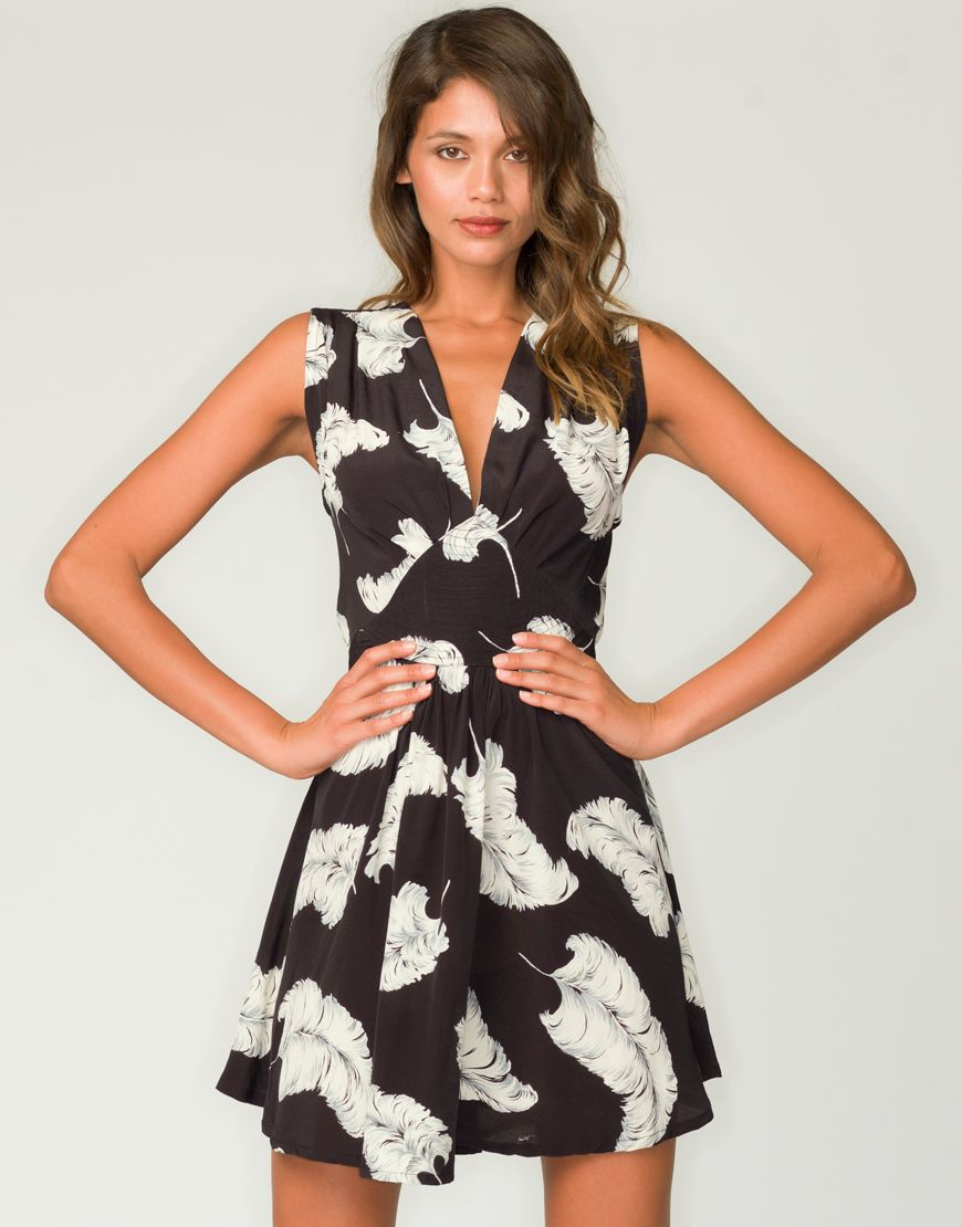 1f9a1b82856e17 Motel Cleo Plunge Neck Dress in Feather Print from Motel Rocks