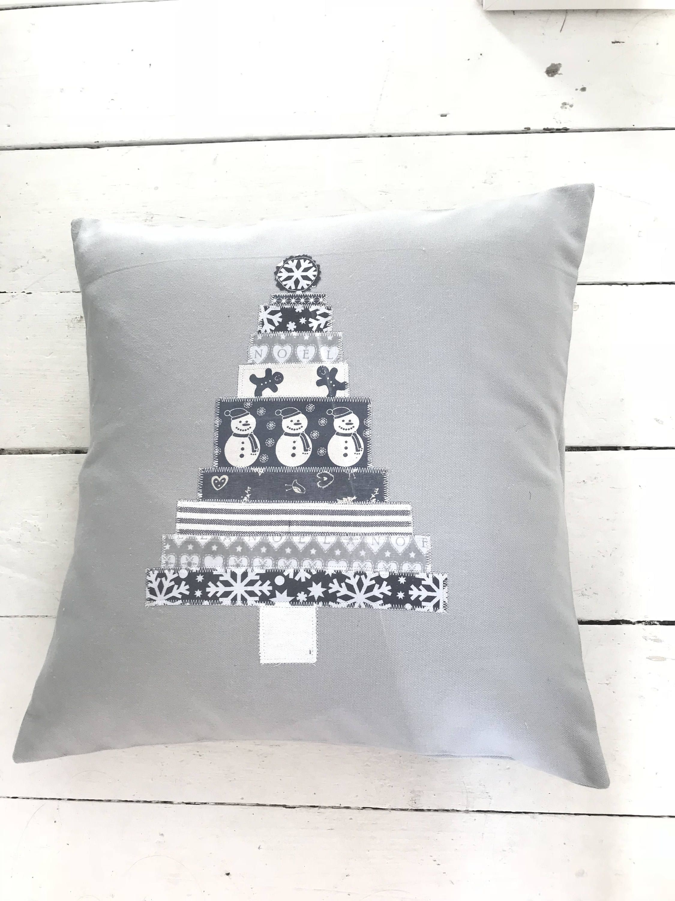 Grey nordic cushion with applique in christmas tree shape farmhouse