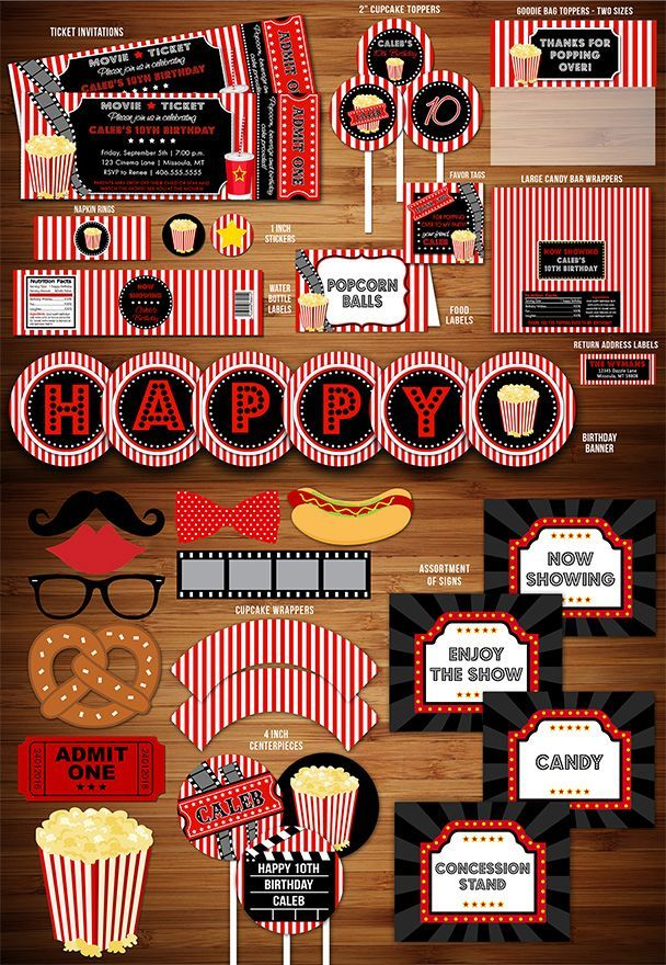 Printable Movie Night Birthday Party Package Decorations - Hollywood - DIY - Kids or Teen Birthday Party Idea - Invitation - Banner - Cupcake Toppers - Favor Tags - Signs - Popcorn Box - Food Labels