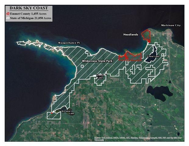 Combined With The Existing Headlands International DarkSky Park - Dark sky map