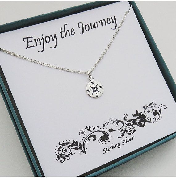 Retirement Gift Sterling Silver Compass Necklace Marcia