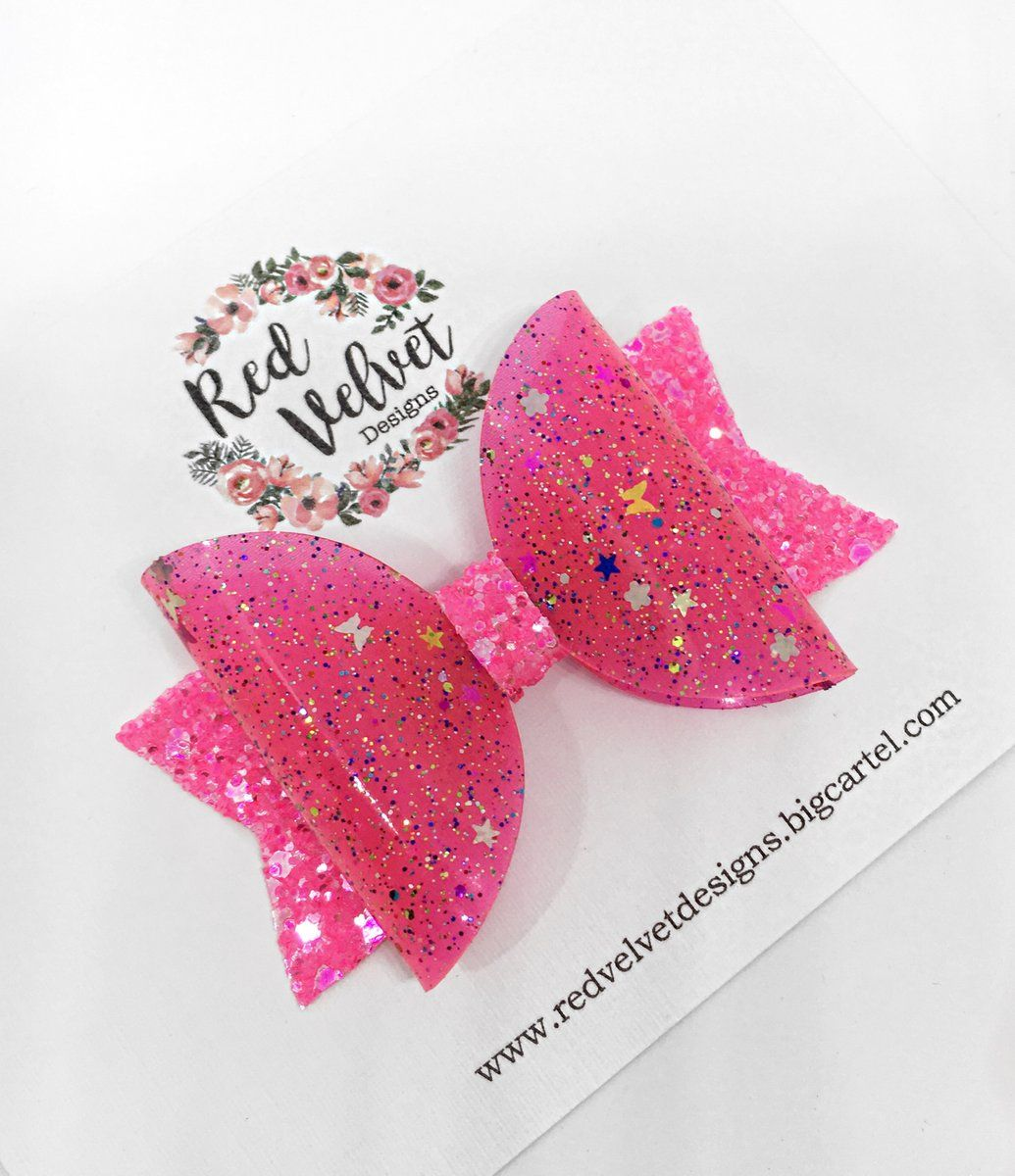 ANY NAME 1 X Personalised Glitter Bow Unicorn Hair Bow with Pink Glitter