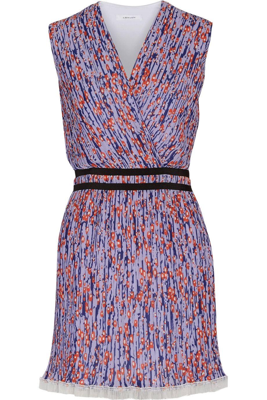 CARVEN Printed plissé-georgette mini dress. #carven #cloth #dress