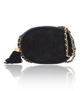 1db08ada5dca73 excellent (EX) Chanel Vintage Black Suede CC Tassel Shoulder Bag on  shopstyle.com