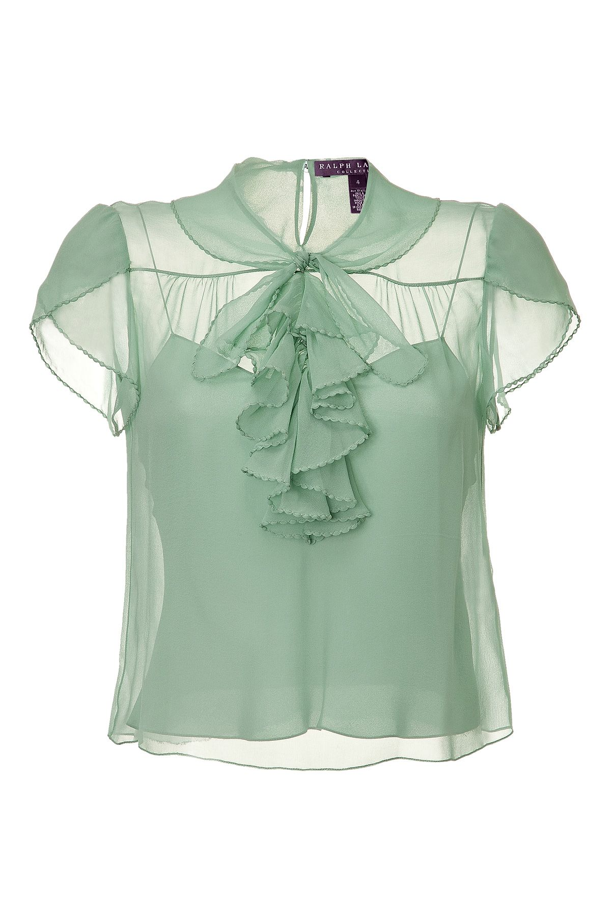 STYLEBOP.com. Pale Seafoam Single Georgette Dapne Top by RALPH LAUREN COLLECTION