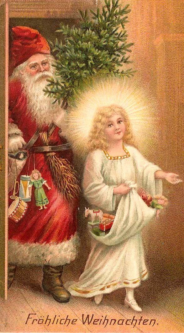 Weihnachtsgrüße Christkind.German Fröhliche Weihnachten Christkind Vintage Weihnachten