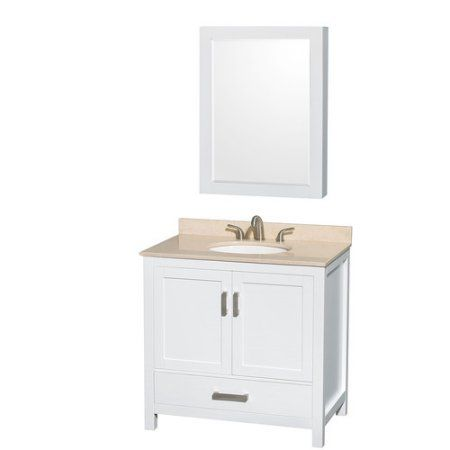Wyndham Collection Sheffield 36 inch Single Bathroom Vanity in White, Ivory Marble Countertop, Undermount Oval Sink, and Medicine Cabinet, Multicolor