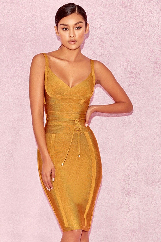 Inka lace dress yellow  Belice Ginger Tie Waist Bandage Dress  Fashion   Pinterest  Fashion