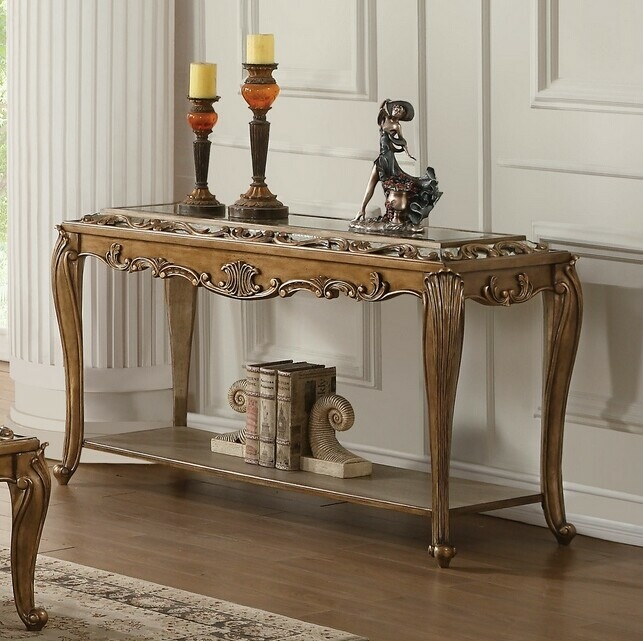 Acme 80693 Astoria Grand Orianne Antique Gold Finish Wood Mirrored Sofa Entry Console Table In 2020 Console Table Wooden Console Table Mirrored Furniture