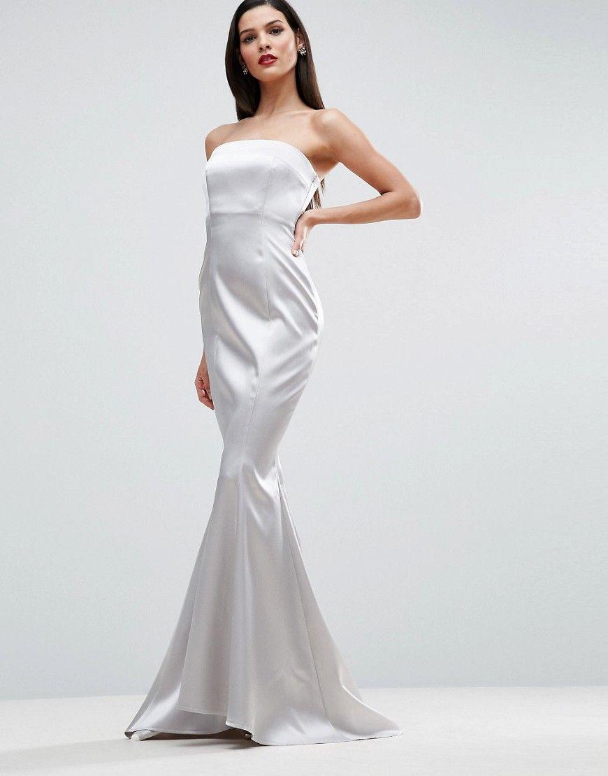 7f87a014ab ASOS RED CARPET Satin Bandeau Paneled Maxi Dress - Silver