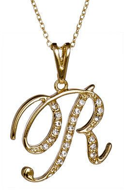 Lovely Alphabet Letter Capital R Crystal Pendant Necklace Jewelry for Women Girl