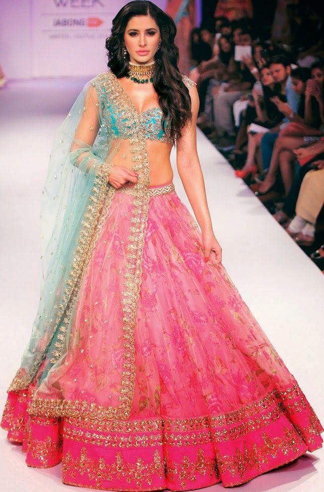 217d0384ce Bollywood Actress Saree Collections: Nargis Fakhri In Floral Lehenga ...