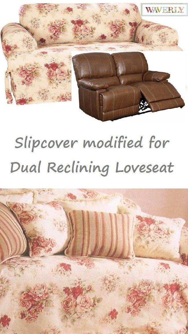 Dual Reclining Loveseat Slipcover T Cushion Waverly Vintage Rose