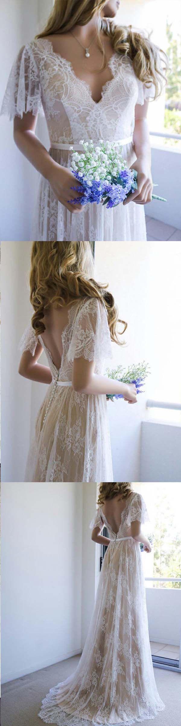 Aline vneck sweep train light champagne lace boho wedding dress
