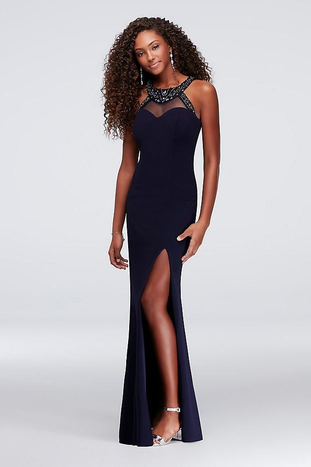 Illusion High Neck Scuba Navy Sheath Prom Dress With Beading From